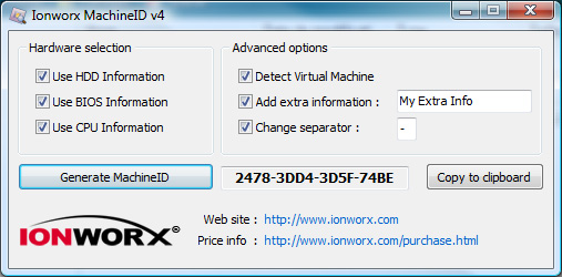 Ionworx Machine ID - Hardware Identifier SDK for  NET / Win32